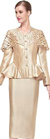 Serafina 3760 - Skirt Suit With Peplum Jacket & Over The Shoulder Laser Cut Collar