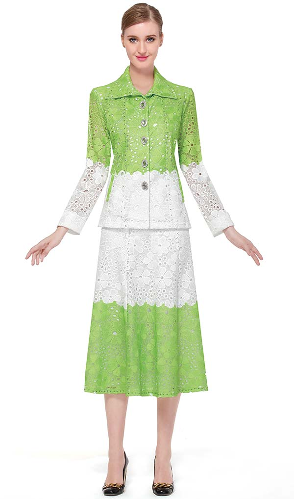Serafina 484 Ladies Two Tone Lace Skirt Suit With Wing Collar