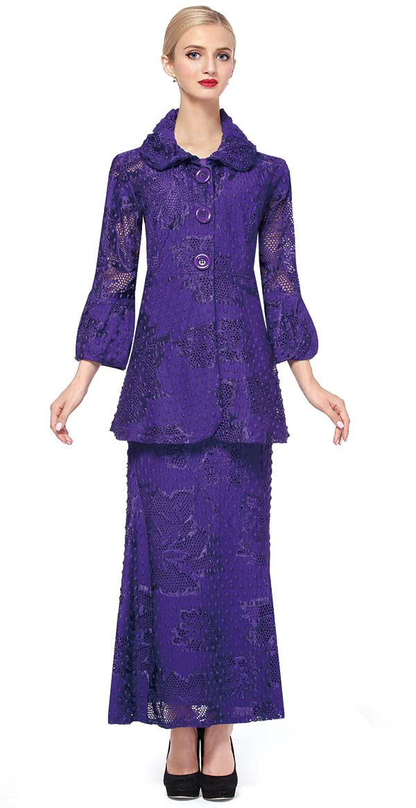 Serafina 491 Ladies Lace Skirt Suit With Bloused Cuffs & Large Buttons