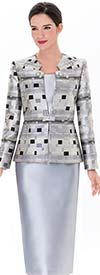 Serafina 2917 Multi Pattern Star Collar Skirt Suit For Ladies