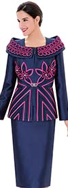 Serafina 3378 Womens Silky Twill Suit With Portrait Collar