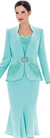 Serafina 3451 Ladies Flounce Skirt Suit With Jacket Applique