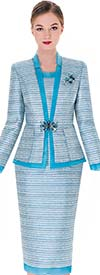 Serafina 3452 Womens Multi Blue Skirt Suit With Contrasting Trims