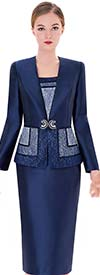 Serafina 3455 Silky Twill Skirt Suit With V-Neck Jacket