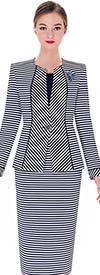 Serafina 3738 Womens Knit Suit With Multi Striped Design