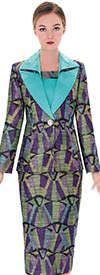 Serafina 3743 Split Shawl Collar Womens Multi Color Suit