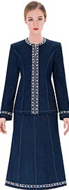 Serafina 3751 Womens Denim Suit With Round Collar
