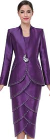 Serafina 3462 Layered Tulip Style Skirt Suit With Embellishments