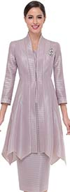 Serafina 3761-Mauve - Striped Pattern Skirt Suit With Long Handkerchief Hem Style Jacket