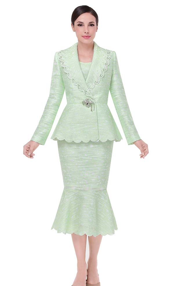 Serafina 3801-Lime - Mermaid Flounce Hem Skirt Suit With Scallop Trim Design
