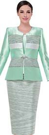 Serafina 3807-Mint -  Alternating Abstract Pattern With Solid Color Skirt Suit