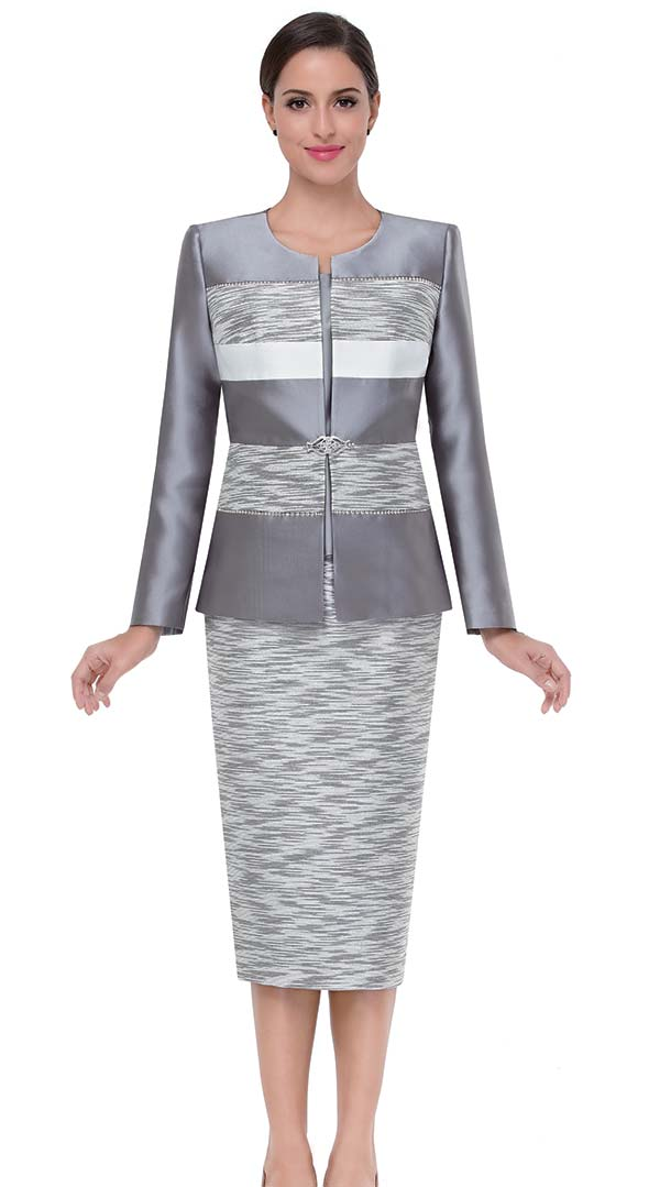 Serafina 3807-Silver -  Alternating Abstract Pattern With Solid Color Skirt Suit