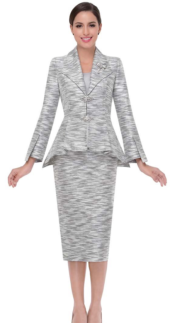 Serafina 3808 Skirt Suit With Wing Collar Peplum Jacket