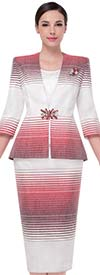 Serafina 3811-Red - Womens Church Suit With Gradient Stripe Design