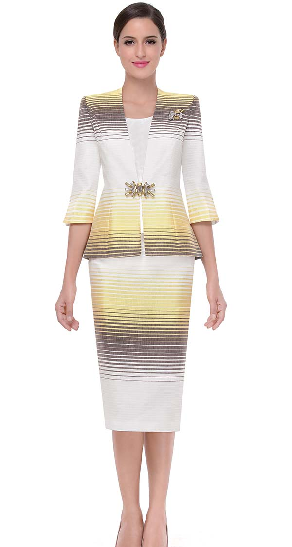 Serafina 3811-Yellow - Womens Church Suit With Gradient Stripe Design