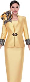 Serafina 3817 Silky Twill Skirt Suit With Chevron Pattern Accents