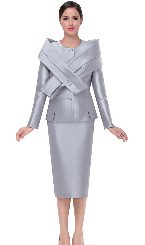 Serafina 3818 Silky Twill Skirt Suit With Over Shoulder Wrap Accent