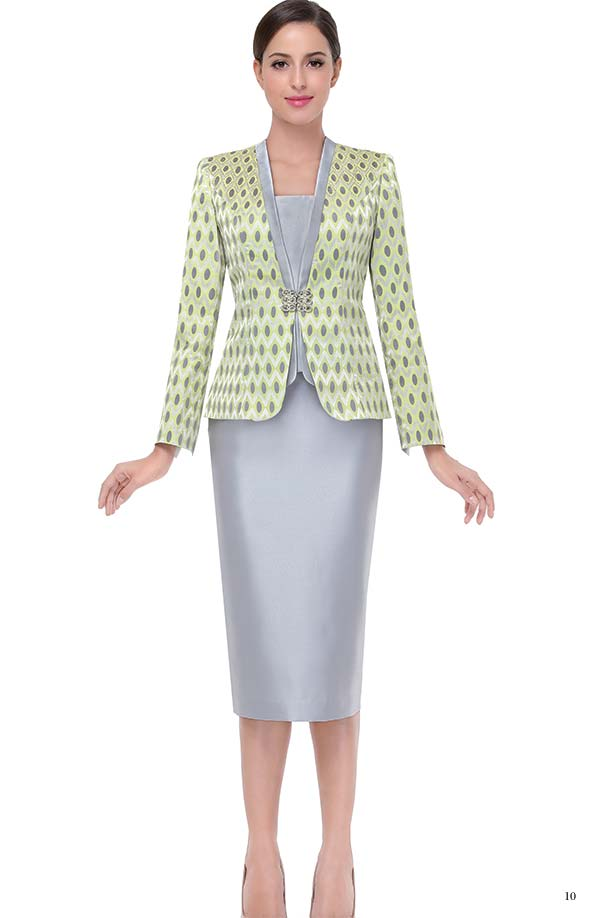 Serafina 3825 Skirt Suit With Diamond & Oval Print Jacket