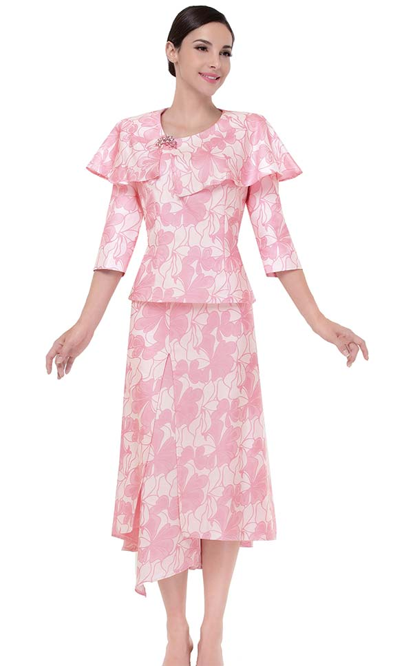 Serafina 3826 Floral Print Skirt Suit With Cape Style Bertha Collar