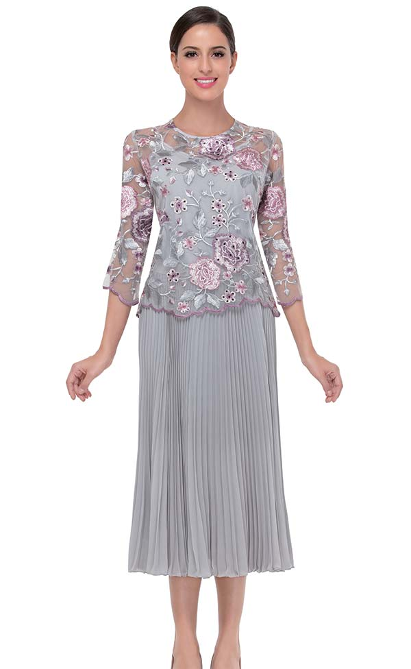 Serafina 501 Chiffon & Floral Lace Accordion Pleated Skirt Suit
