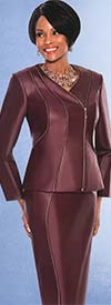 Susanna 3735 Womens Leather Look Skirt Suit