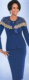 Susanna 3747 Womens Knit Skirt Suit With Bertha Collar