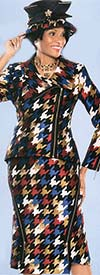 Susanna 3748 Multi Color Houndstooth Pattern Skirt Suit