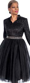 Susanna 3765-Black -Pleated Tulle Dress With Short Stand-Up Collar
