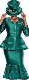 Susanna 3776-Green - Flounce Hem Skirt Suit With Flared Jacket