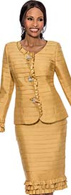 Susanna 3800-Gold - Layered Ruffle Trim Skirt Suit For Women