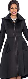 Susanna 3802-Black - Jacket / Dress With Wide Wing Collar