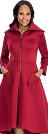 Susanna 3802-Burgundy - Jacket / Dress With Wide Wing Collar