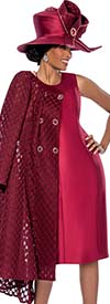 Susanna 3808-Wine - Dress Set For Women With Pleated Jacket