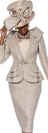 Susanna 3809 - Portrait Style Collar Peplum Jacket & Skirt Set