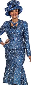 Susanna 3811 - Mermaid Dress & Jacket Set With Multidirectional Print Design