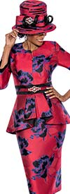 Susanna 3812 - Pleated Peplum Jacket & Skirt Set With Bold Floral Print