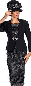 Susanna 3814-Black - Womens Skirt Suit With Floral Applique Adornments