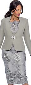 Susanna 3814-Grey - Womens Skirt Suit With Floral Applique Adornments