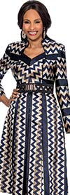 Susanna 3815 - Pleated Dress With Zig Zag Print Design