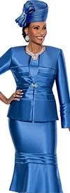 Susanna 3818-Blue - Flounce Hem Skirt Suit With Horizontal Piping & Flared Sleeves