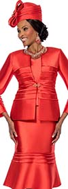Susanna 3818-Red - Flounce Hem Skirt Suit With Horizontal Piping & Flared Sleeves