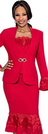 Susanna 3822 - Three Piece Skirt Suit With Fancy Ruffled Trims