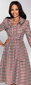Susanna 3730 Red Multi Houndstooth Print Dress