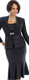 Susanna 3692-Black - Womens Flared Skirt Suit With Multi Circle Pattern Design