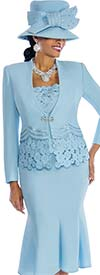 Susanna 3692-Blue - Womens Flared Skirt Suit With Multi Circle Pattern Design
