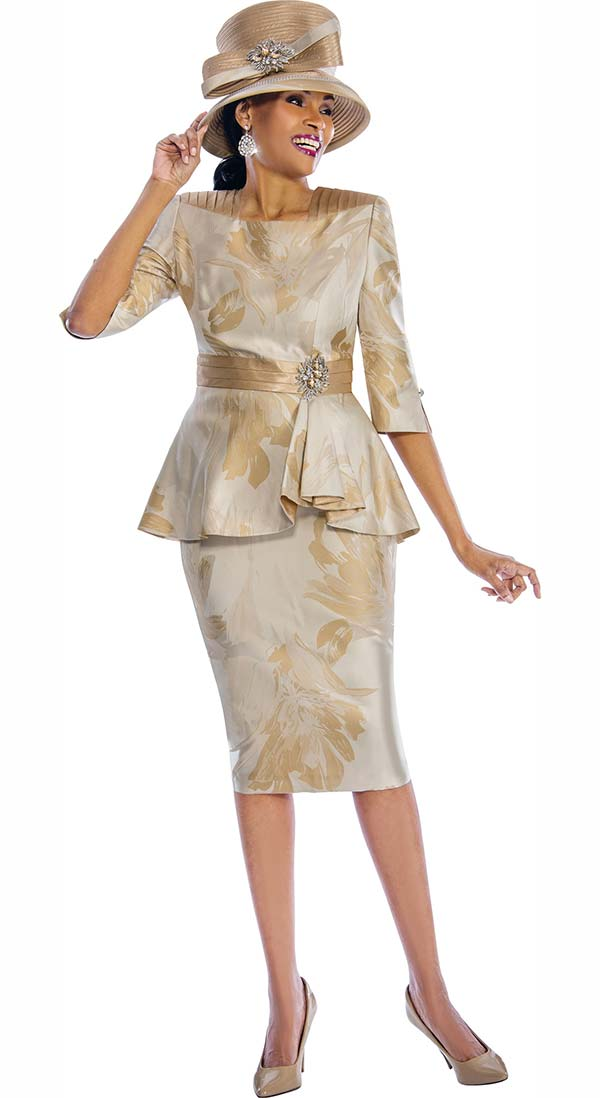 Susanna 3785-Gold - Womens Floral Print Skirt Suit With Peplum Jacket