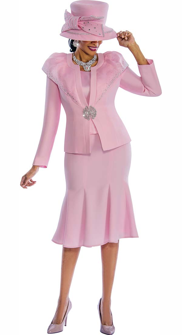 Susanna 3789-Pink - Flared Skirt Suit With Over Shoulder Layer Jacket