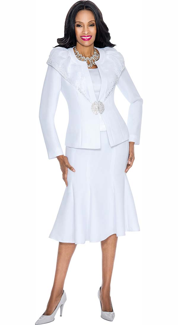 Susanna 3789-White - Flared Skirt Suit With Over Shoulder Layer Jacket