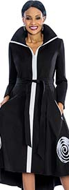 Susanna 3803 - Wing Collar Jacket Dress With Spiral Adornment & Sash