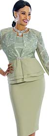 Susanna 3830-Sage - Skirt Suit With Layered Peplum Jacket